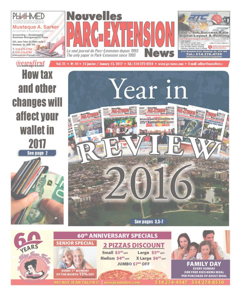 Front page image of the Parc-Extension News Volume 25-1