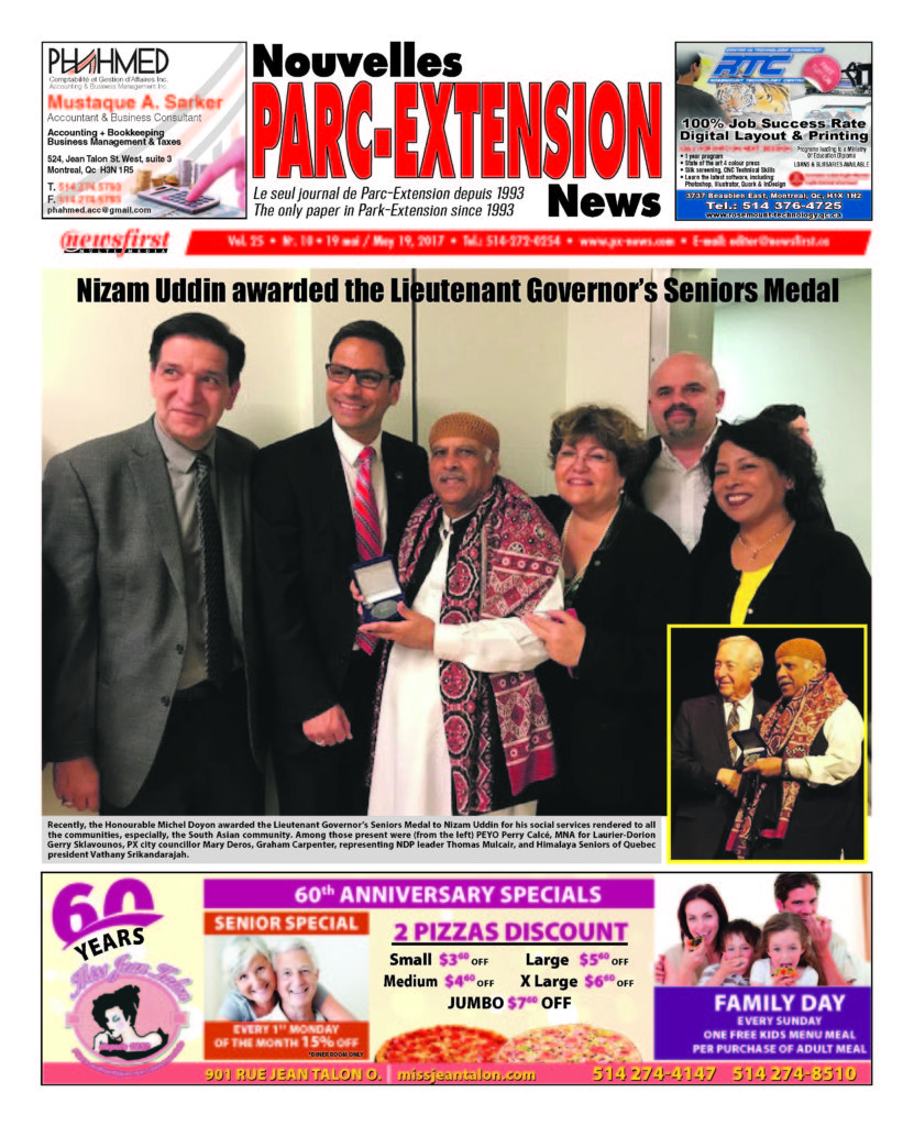 Front page image of the Parc-Extension News Volume 25-10